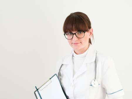 smiling doctor on white backround photo