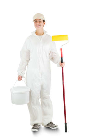woman decorator isolated on white Stock Photo - 13369420