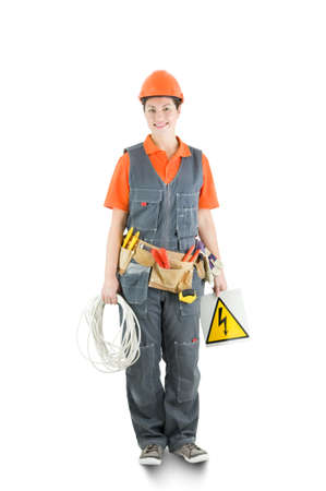 an electrician isolated on white Stock Photo - 13369470