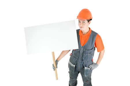 worker with sign isolated on white Stock Photo - 13369464