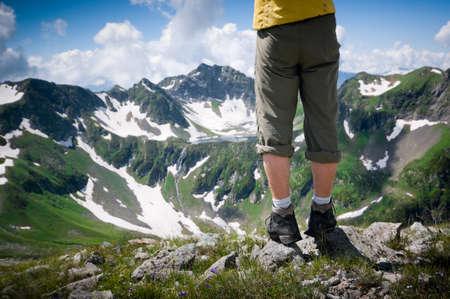 hiking concept man and lake photo