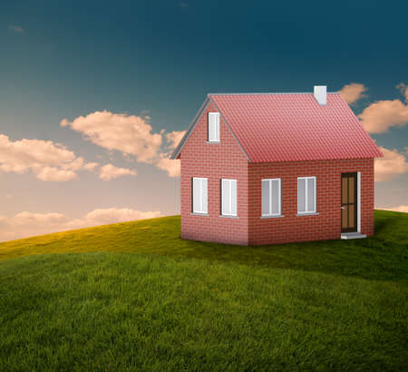 new house at landscape with blue sky Stock Photo - 13355850