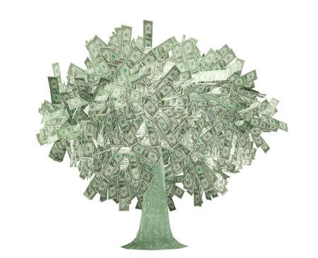 grow money: dollars tree isolated on white background