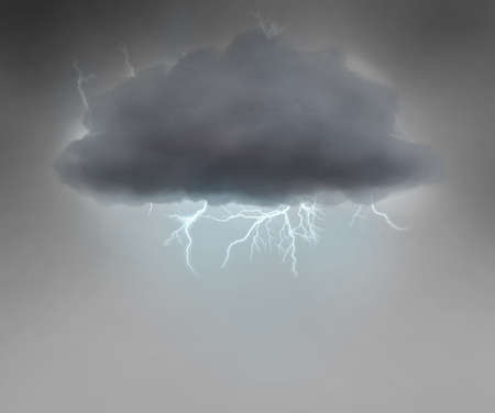 moody sky: nube tempestosa con un fulmine