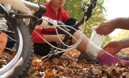 sports injury: woman was fallen off bicycle