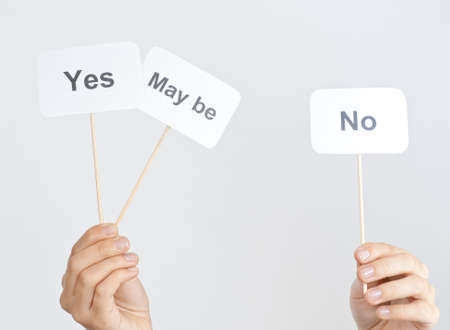maybe: yes, no, maybe choice concept Stock Photo