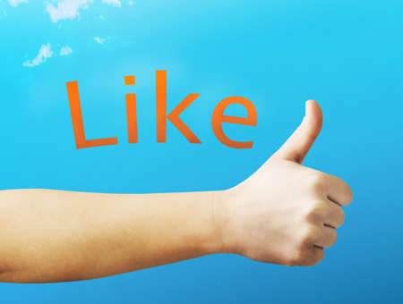 facebook: thumb up Stock Photo