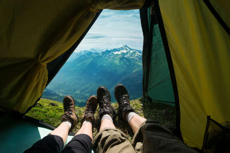 expeditions: couple camping in mountains