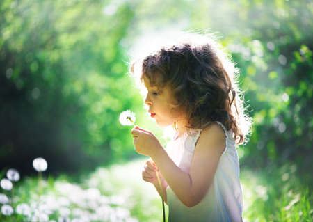 child has summer joy with dandelion Stock Photo