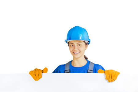worker with blank board on white isolated Stock Photo - 21404214