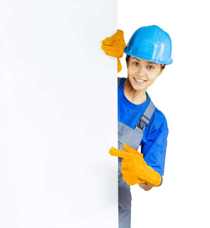 worker with blank board on white isolated photo
