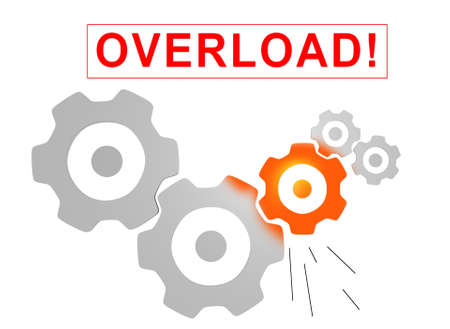 overwhelmed: gears mechanism overload concept Stock Photo
