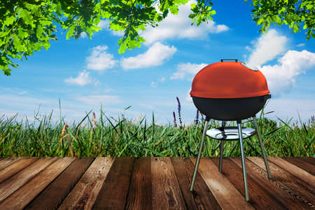 kettle barbecue grill on backyard photo