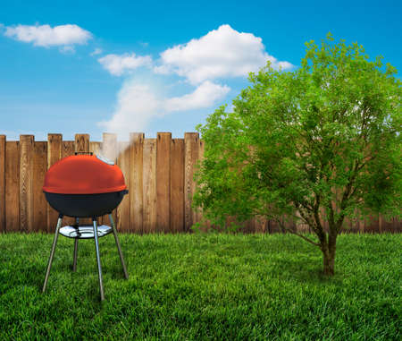 barbecue grill on backyard photo