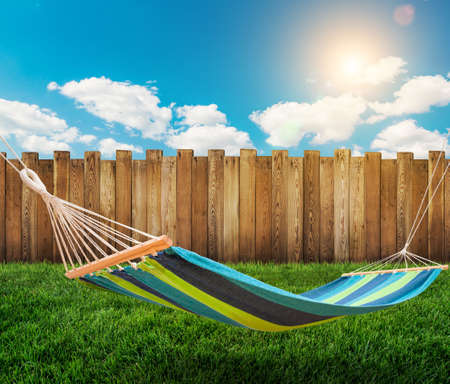 Relaxing on hammock in garden photo