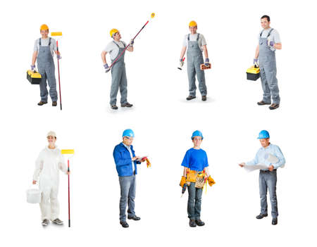 set of workers isolated photo