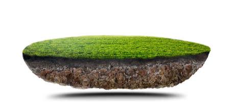 green grass island on white Archivio Fotografico