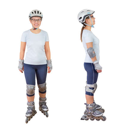 sportwear: woman roller skating with protective sportwear