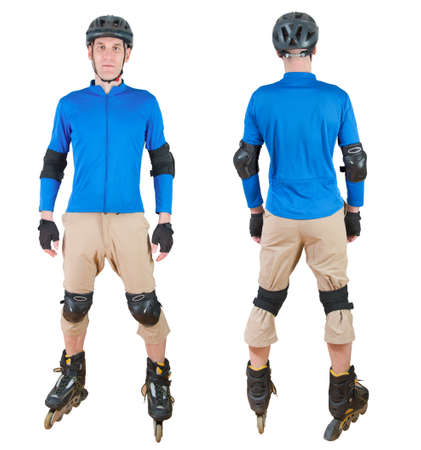 sportwear: man roller skating with protective sportwear