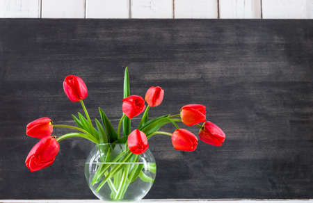 tulips in vase: bouquet flowers at home