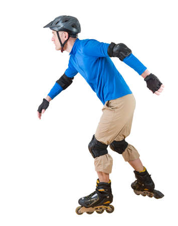 man roller skating with protective sportwear