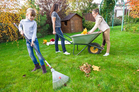 yard work: family gardening at backyard in autumn