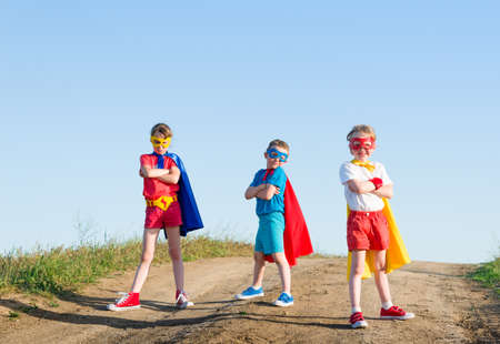 kids acting like a superhero