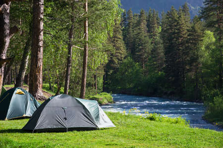 river: camping outdoors Stock Photo