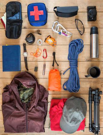 camping equipment: travel equipment set Stock Photo