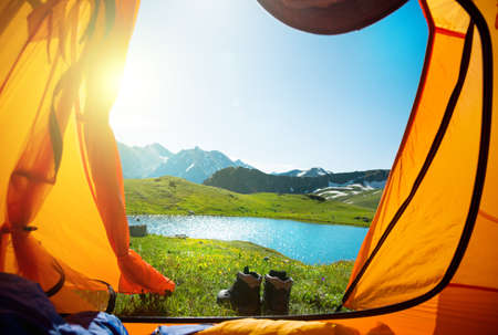 camping: camping and hiking in mountains