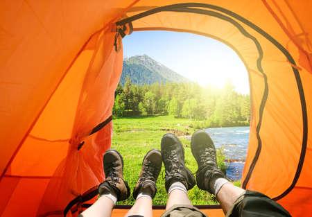 tourist tent camping in mountains Archivio Fotografico