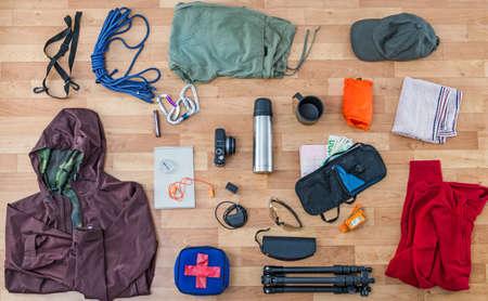 travel gear: travel equipment set Stock Photo