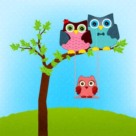 baby: owl family vector
