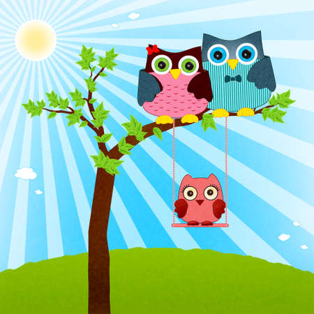 owl family vector Vector