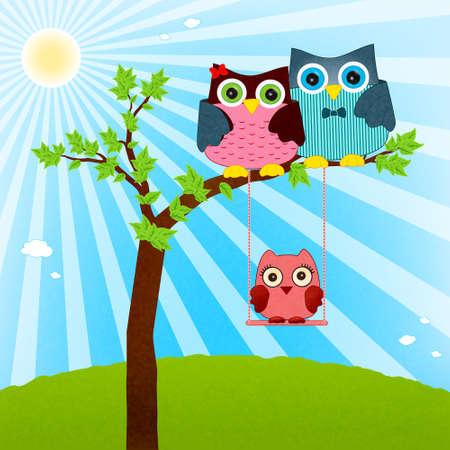 owl family vector Vector