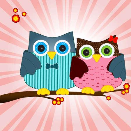 owls in love vector Vector