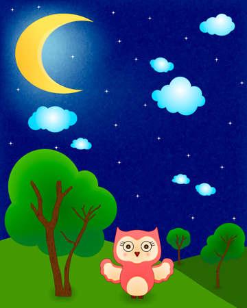 baby owl vector at night Vector