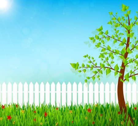 garden fence: spring garden vector