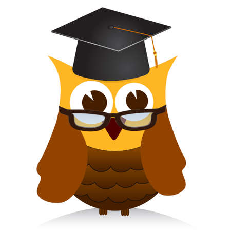 sagacious: wise old owl vector Illustration