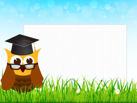 lesson in nature school with wise owl Vector
