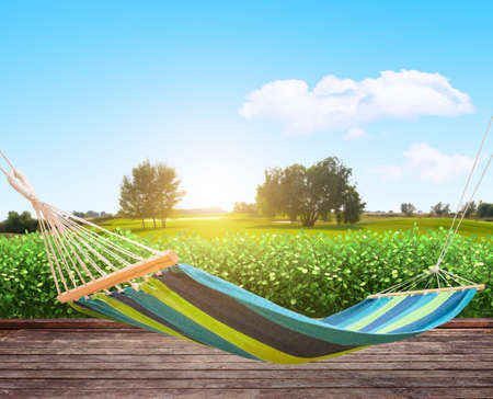 Relaxing on hammock in garden Archivio Fotografico