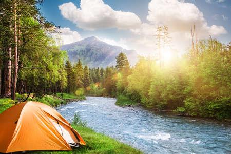 森のキャンプにテントの観光