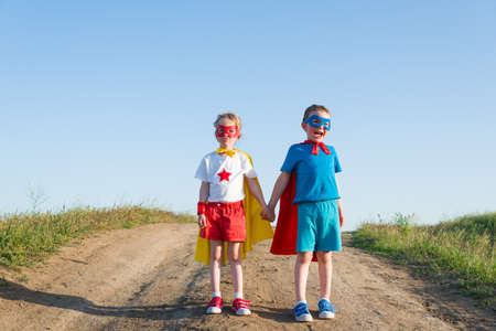children acting like a superhero Archivio Fotografico