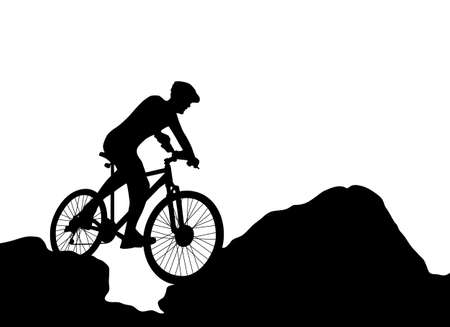 cyclist silhouette extreme biking vector Vector
