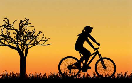 cycle: cycling silhouette outdoors vector