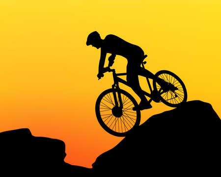 cyclist silhouette extreme biking vector Vector