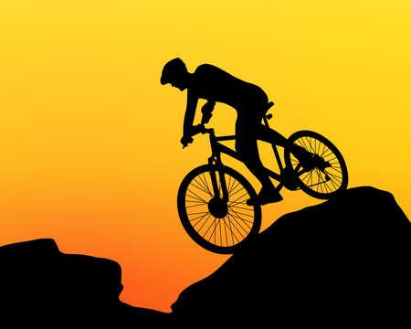 cyclist silhouette extreme biking vector