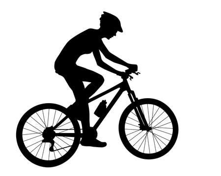 サイクリストの女性シルエット ベクトル  イラスト・ベクター素材
