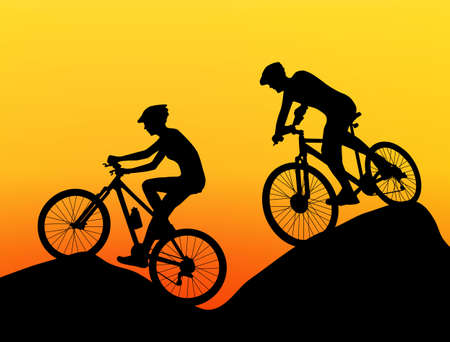 two cyclists silhouette extreme biking vector
