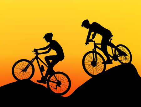 mountain bike: two cyclists silhouette extreme biking vector